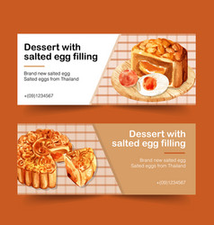 Salted egg banner design with moon cake boiled vector