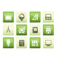 School and education icons over green background vector