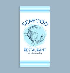 seafood menu for restaurant of premium quality vector image