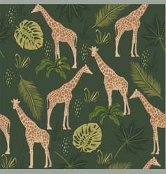 seamless pattern with giraffes and tropical vector image