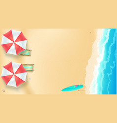 Seascape seashore with sandy beach top view of vector