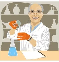Senior male scientist mixing chemicals vector