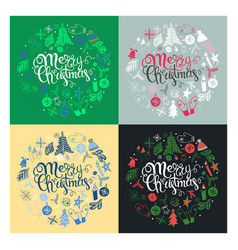 set christmas greeting cards vector image