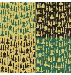 Set fir tree seamless pattern colorful vector image
