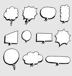 set hand drawn comic bubble speech vector image