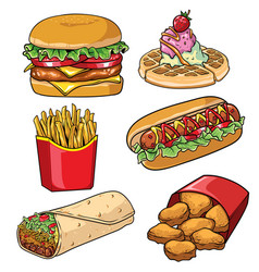 Set of fast food collection vector