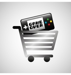 Shiny shopping cart game over online commerce vector