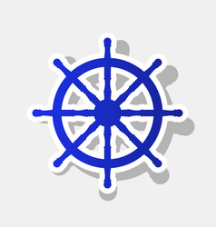 Ship wheel sign new year bluish icon with vector