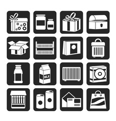 Silhouette different kind of package icons vector