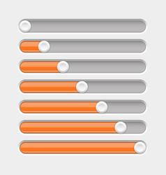 slider bar settings on control panel orange on vector image