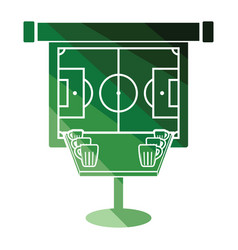 Sport bar table with mugs of beer and football vector