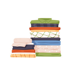 Stack neat and clean clothes pile neatly vector