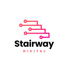 stairway digital tech up stair logo icon vector image