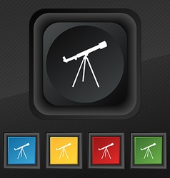 Telescope icon symbol Set of five colorful stylish vector image