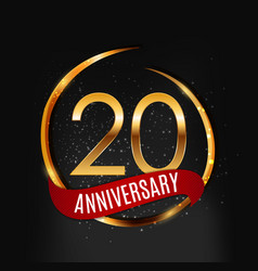 template gold logo 20 years anniversary with red vector image