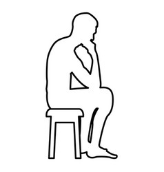 thinking man sitting on a stool silhouette icon vector image