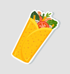 Traditional mexican burrito spicy delicious vector