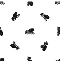 truck concrete mixer pattern seamless black vector image