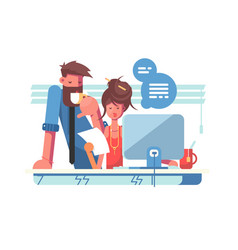 two colleagues working together in modern office vector image