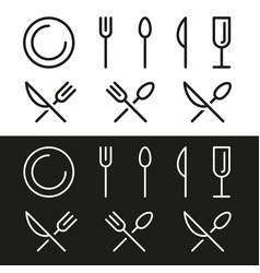 V icon knife fork and spoon icon khife icon spoon vector