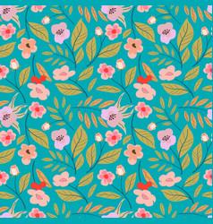vintage floral background seamless pattern vector image