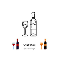 Wine line icon a bottle wine and a glass red vector