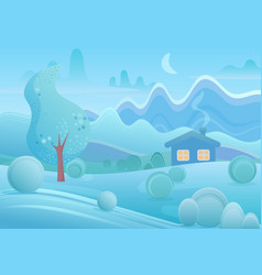 winter cartoon house with smoke from chimney in vector image