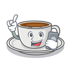 With phone coffee character cartoon style vector