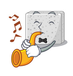 With trumpet feta cheese block on plate cartoon vector