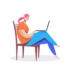 woman freelancer using laptop girl in casual vector image