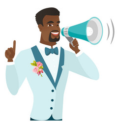 Young african-american groom making announcement vector