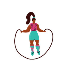 young plus size woman jump with skipping rope vector image