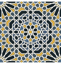 Arabesque seamless pattern in blue and yellow vector image vector image