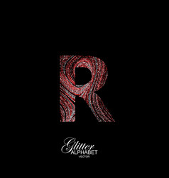 curly textured letter r vector image
