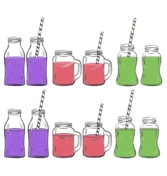 Glass bottles sketches set vector image