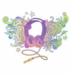 hand drawn headphones vector image vector image