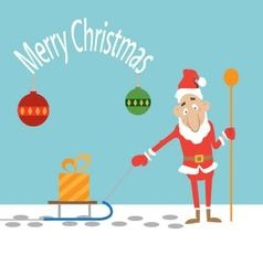 Santa Claus pulling a sled with a present vector image vector image
