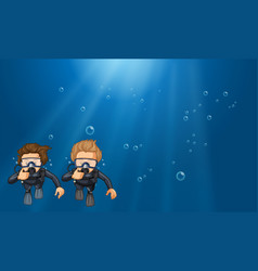 scene with two scuba divers underwater vector image vector image