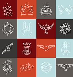 set of trendy linear hipster icons and symbols vector image