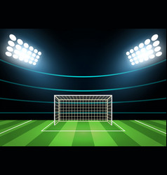 spotlights and football field card background vector image