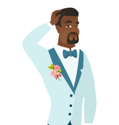 young african-american groom scratching his head vector image vector image