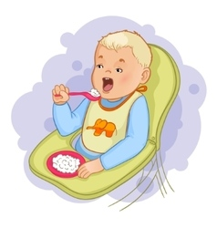 Baby boy eats pap sitting in the baby chair vector image