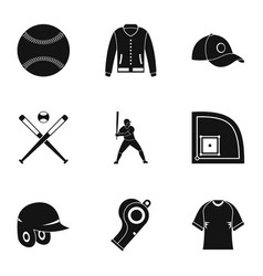 baseball tournament icons set simple style vector image vector image