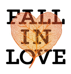 Fall in love - autumn sale poster with leaf heart vector image