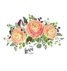 Floral card design garden peach rose ranunculus vector