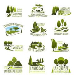 landscape design company icon with green tree vector image