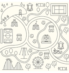 Park map in outline design style vector image vector image