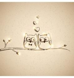 Sketch lover owls vector