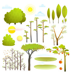 trees nature landscape objects clip art collection vector image vector image