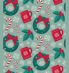 winter objects seamless pattern vector image